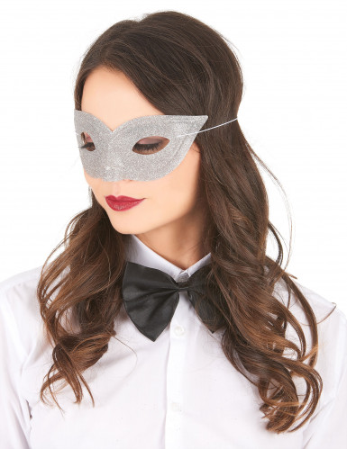 Zilverkleurig puntig Venetiaans oogmasker voor volwassenen