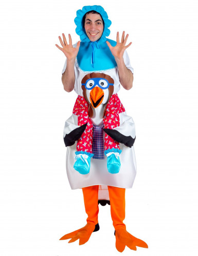 Baby gedragen door ooievaar kostuum voor volwassenen