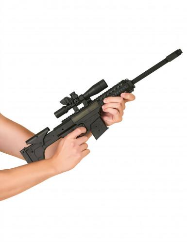 Zwart plastic geweer met geluid voor kinderen-1