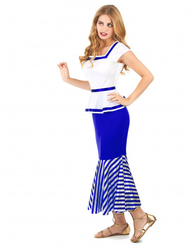 Wit en blauw Galliër kostuum voor vrouwen-1