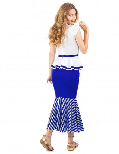 Wit en blauw Galliër kostuum voor vrouwen-2