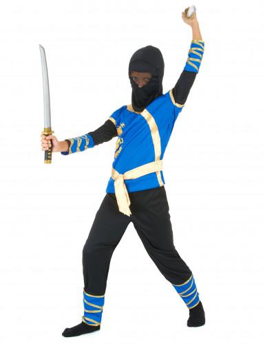 Blauw en goudkleurige ninjakostuum voor jongens-1