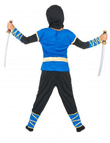 Blauw en goudkleurige ninjakostuum voor jongens-2