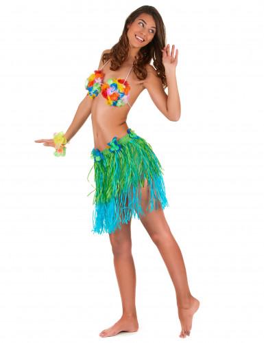 Hawaïaanse rok in groen met blauw voor volwassenen-1
