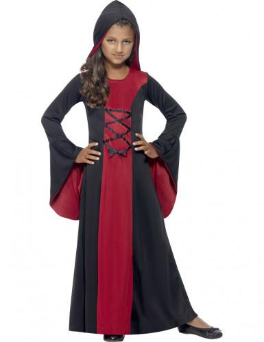 Zwart met rood tovenares kostuum voor meisjes