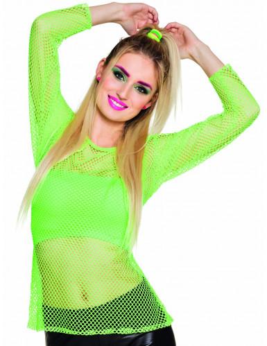 Fluo groen jaren 80 t-shirt voor vrouwen