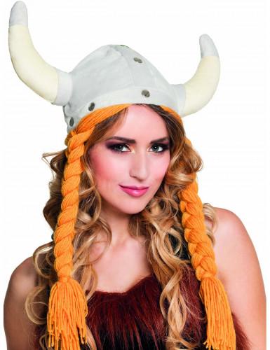 Viking helm met oranje vlechten voor volwassenen