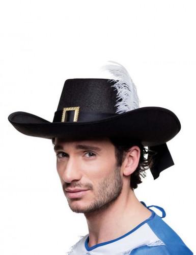 Zwarte musketier hoed voor volwassenen