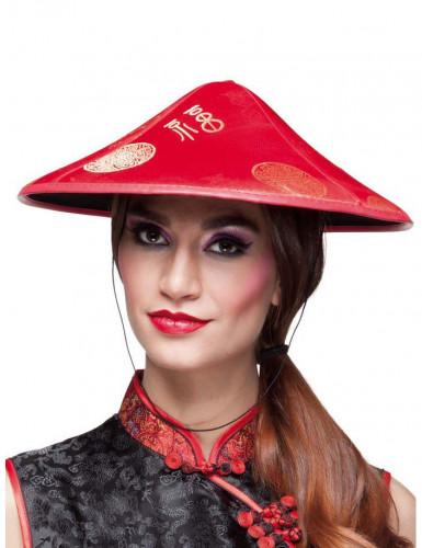 Rode Chinese hoed voor volwassenen
