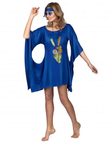 Blauwe seventies hippie jurk voor vrouwen-1