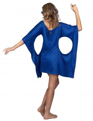 Blauwe seventies hippie jurk voor vrouwen-2