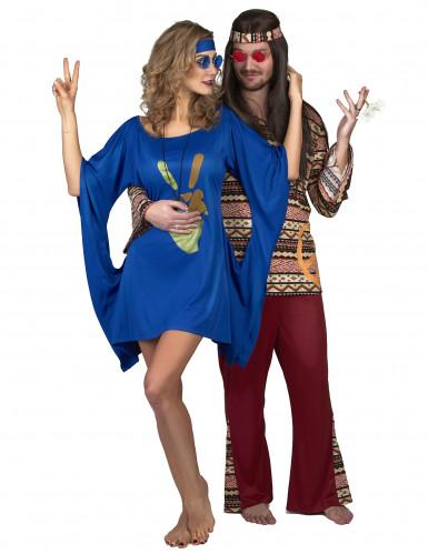 Blauwe seventies hippie jurk voor vrouwen-3