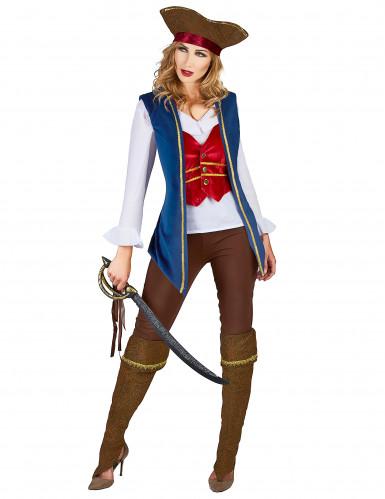 Blauw fluweelachtig piraten kostuum voor vrouwen