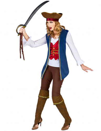 Blauw fluweelachtig piraten kostuum voor vrouwen-1