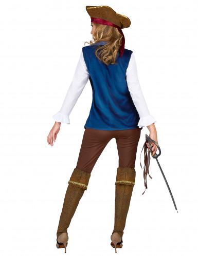 Blauw fluweelachtig piraten kostuum voor vrouwen-2