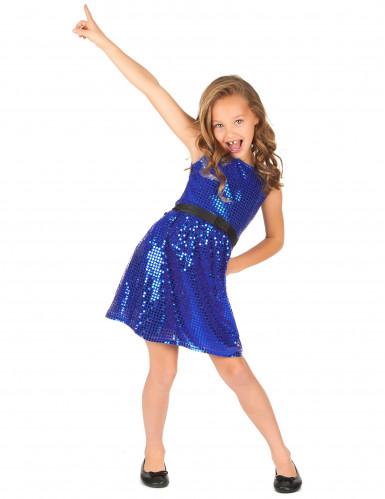Blauwe glitter disco jurk voor meiden