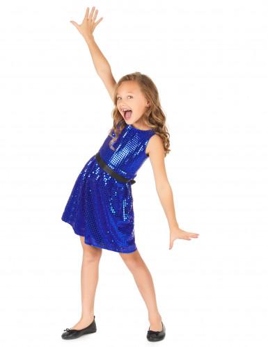 Blauwe glitter disco jurk voor meiden-1