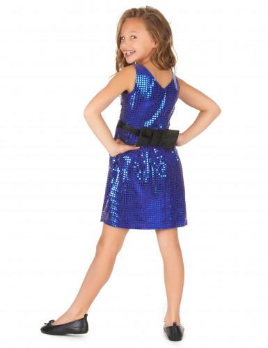 Blauwe glitter disco jurk voor meiden-2