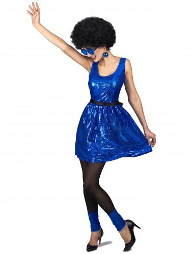 Blauw glitter disco kostuum met strik voor vrouwen-1
