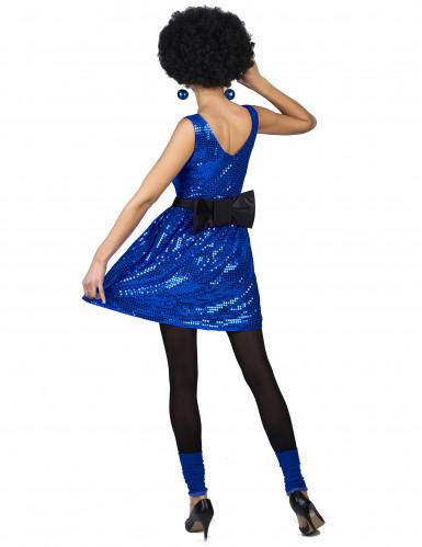Blauw glitter disco kostuum met strik voor vrouwen-2
