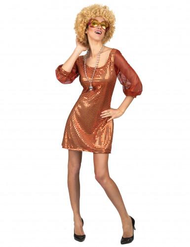 Oranje glitter disco outfit voor dames