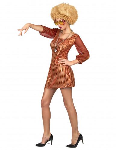 Oranje glitter disco outfit voor dames-1