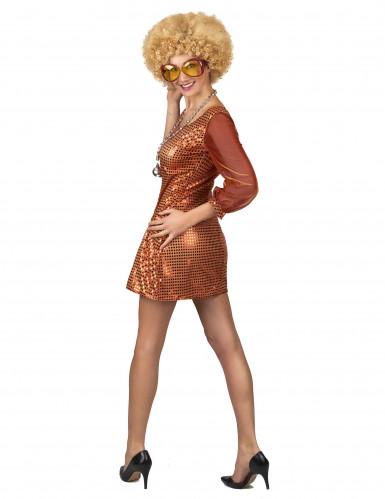 Oranje glitter disco outfit voor dames-2