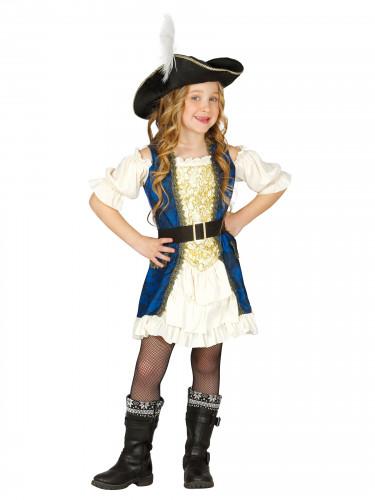Blauwe piratenkapitein kostuum voor meisjes