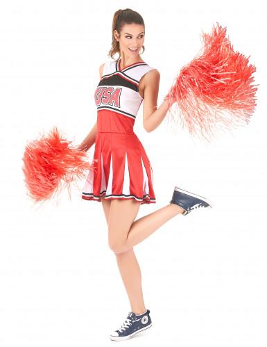 Rood USA cheerleader kostuum voor vrouwen-1