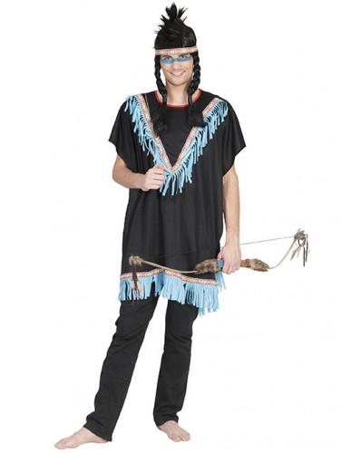 Blauw indianenkostuum met franjes voor mannen
