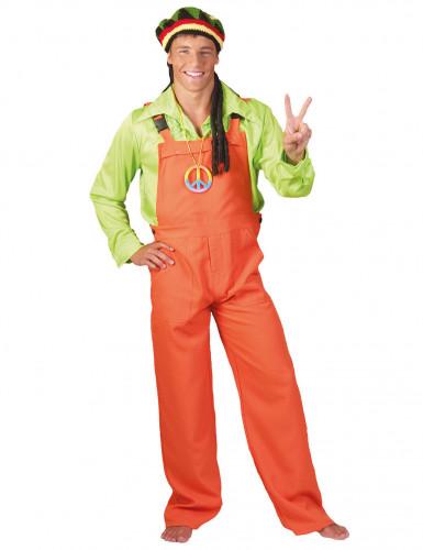 Fluo oranje tuinbroek voor volwassenen