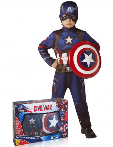 Klassiek Captain America™ kostuum met schild voor kinderen