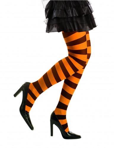 Zwarte en oranje panty voor volwassenen