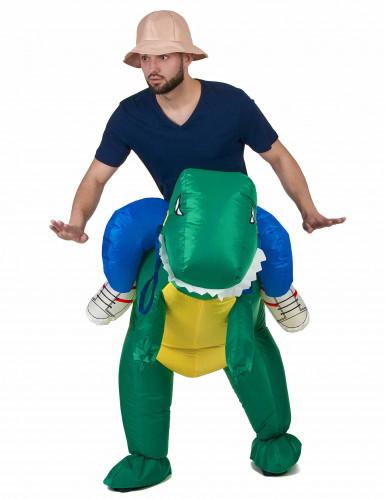 Opblaasbaar man op dinosaurusrug kostuum voor volwassenen-1