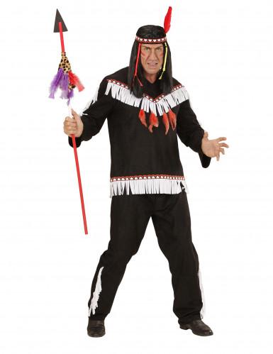 Zwart met wit indianen kostuum voor mannen