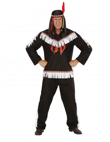 Zwart met wit indianen kostuum voor mannen-1