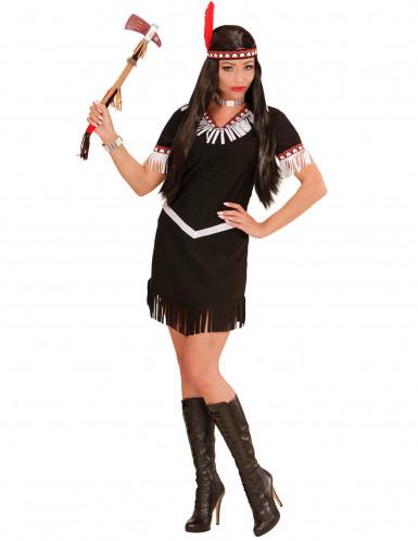 Zwart en wit indianenkostuum voor vrouwen