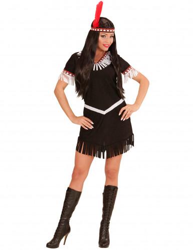 Zwart en wit indianenkostuum voor vrouwen-1