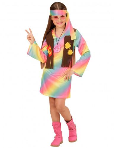 Veelkleurig pastel hippie kostuum voor meisjes
