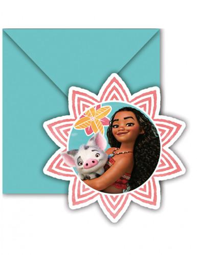 6 Vaiana™ uitnodigingen en enveloppen