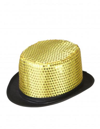 Goudkleurige hoge hoed met lovertjes voor volwassenen