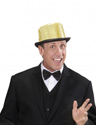 Goudkleurige hoge hoed met lovertjes voor volwassenen-1