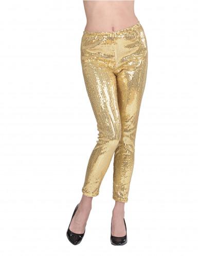 Gouden glitter legging voor dames-2