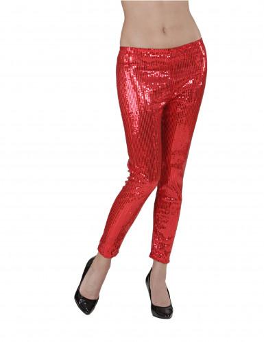 Rode glitter legging voor dames-1