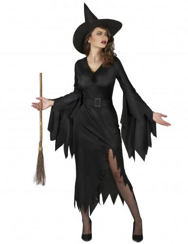 Sexy zwart heksenkostuum voor vrouwen