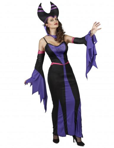 Paarse boosaardige heks kostuum voor vrouwen-1