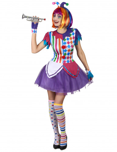 Kleurrijke harlekijn pompon kostuum voor vrouwen