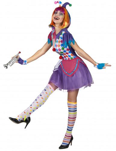 Kleurrijke harlekijn pompon kostuum voor vrouwen-1