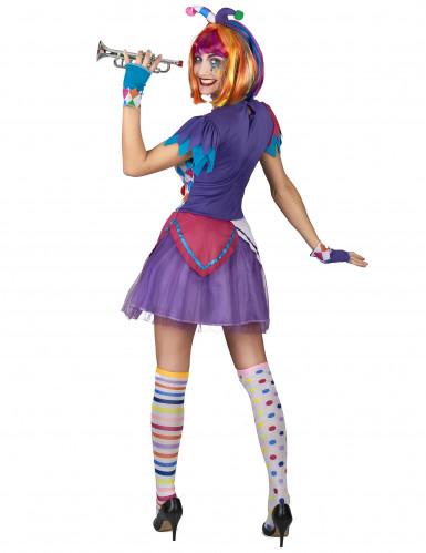 Kleurrijke harlekijn pompon kostuum voor vrouwen-2