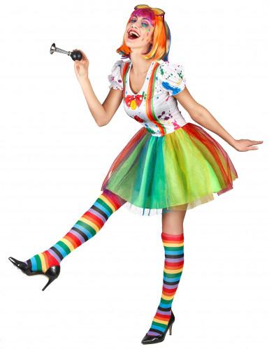 Veelkleurige verf clown kostuum voor vrouwen-1